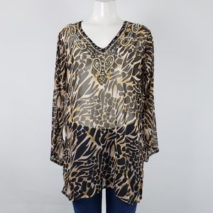 Amanda Fashion Beaded Animal Print Top Size M